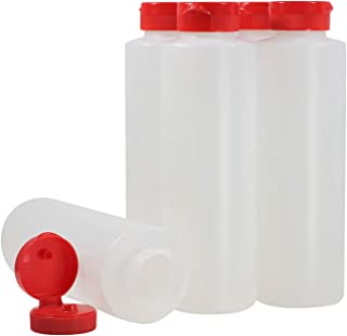 Pinnacle Mercantile Condiment Squeeze Bottles with Flip Top Hinged RedCap 16 oz Set of 5 (Perfect for Condiments, Sauces, Dressings, BBQ, Ketchup) …