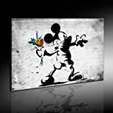 Banksy Street Art Miky Graffiti Leinwand Bild fertig auf Keilrahmen - Kunstdrucke, Leinwandbilder, Wandbilder, Poster, Gemälde, Pop Art Deko Kunst Bilder