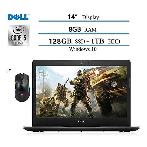 Dell Inspiron 14 inch Laptop 2020, Intel Core i5-1035G4 (Beat i7-7500) 10 Geneartion, 8GB RAM, 128GB SSD +1TB HDD, HDMI, WiFi, Intel UHD Graphics, Win10 W/ Ghost Manta Gaming Mouse