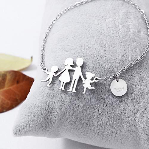 Bracciale famiglia family con sagoma famiglia in acciaio inossidabile, regolabile. Handmade, realizzato a mano,