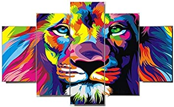 Unframed 5 Panels Modern Animal Lion Oil painting on Canvas Wall Decoration Home Wall Art Picture Print on Canva