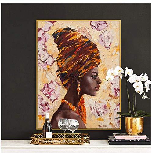 Mujer africana con gorro Pintura al óleo Arte de la pared Lienzo Carteles e impresiones escandinavos Imagen de arte de pared moderno para sala de estar -60x80cm Sin marco