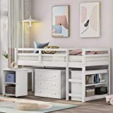 Merax Solid Wood Twin-Size Low Loft Bed Frame with Ladder for Kids Bunk, Cabinet + Desk, White
