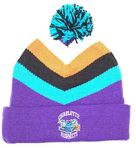 Charlotte Hornets Mitchell & Ness V Stripe Vintage Logo Knit Hat with Pom