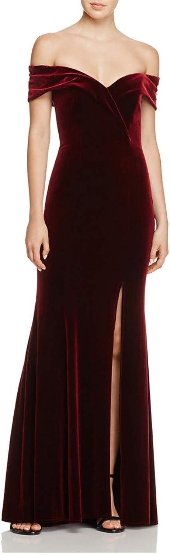 Darcy74Dulles Women's Off The Shoulder Red Velvet Mermaid Evening Dress Prom Long Formal Gowns Slit