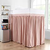 Extended Dorm Sized Cotton Bed Skirt Panel with Ties (3 Panel Set) - Darkened Blush (for Raised or lofted beds)