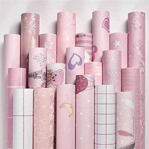 Deuba Plakbehang, zelfklevend, 10 meter, voor in de slaapkamer, warm voor meisjes, waterdicht en vochtbestendig, cartoon voor studentenhuis, roze behang in huis Klein rooster poeder.
