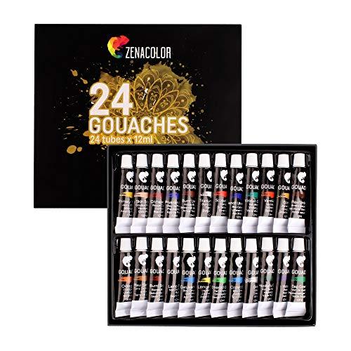 Zenacolor - Pintura Gouache en Tubo - Maletin de 24 Colores, Alta Calidad, Para Pintar en Todos los Soportes tanto para Artistas y Principiantes - Ocio Creativo (24 x 12 ml)