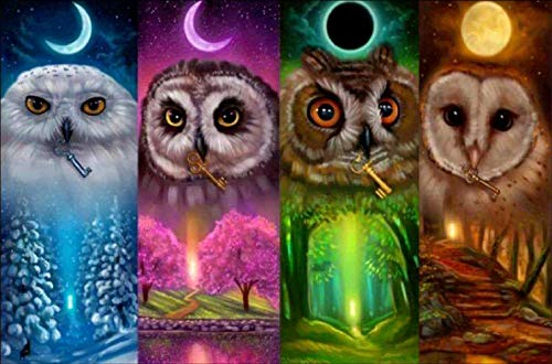 DIY 5D Diamond Painting Kits for Adults Kids Full Drill Diamond Painting, Cute Owl Diamond Art Craft Canvas Supply for Home Wall Decor (13.7 x 9.8 in)
