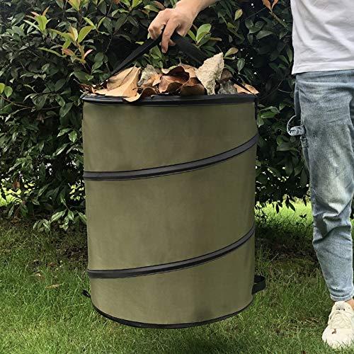 fasloyu Gartenabfalltonne Pop Up Faltbarer Gartensack mit 2 Tragegriffe 10 Gallonen Laubsack aus Stabilen Oxford ca. 37,8 l selbststehend (Grün)