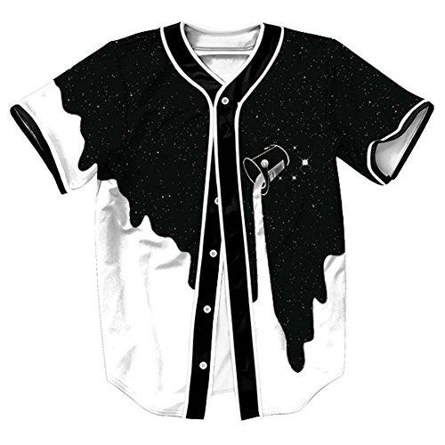 Camiseta Hombre 3D Impreso Verano Casual Camiseta de béisbol de manga corta Hip Hop Tops (Blanco negro, Medium)