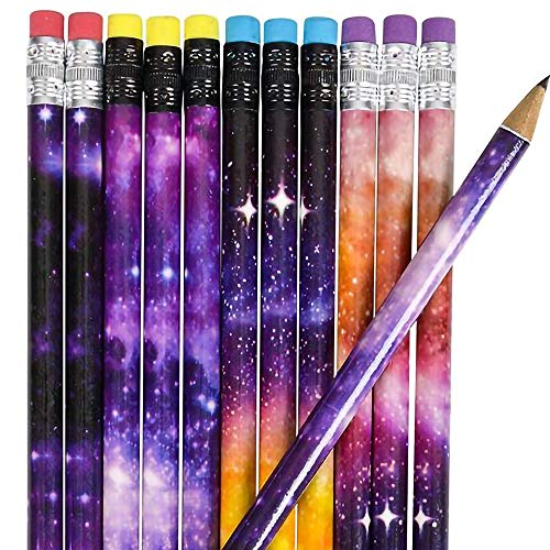 ArtCreativity Galaxy Pencils for Kids - Pack of 48 - Assorted Outer Space Designs - Cute Writing Pencils with Durable Erasers, Teacher Supplies for Classrooms, Student Reward, Astronomy Party Favors