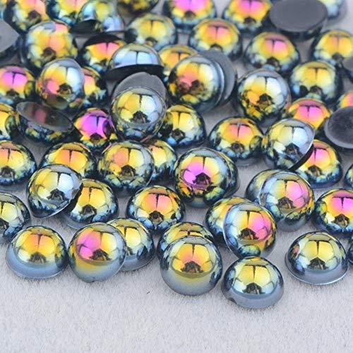 2 4 6 8 10 12 14mm Demi-Ronde Imitation Perle Noir AB Strass Perle Colle Sur Nail Art Décoration Dos Plat Perle Autocollant, Noir AB, 12mm 50 Pcs