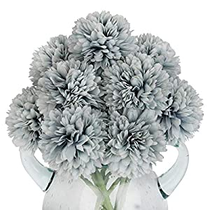 Louiesya Artificial Flowers, 10Pcs Fake Flowers Silk Artificial Chrysanthemum Ball Hydrangea Bridal Wedding Bouquet for Home Garden Party Wedding Decor (Gray Blue, 10 Pcs)