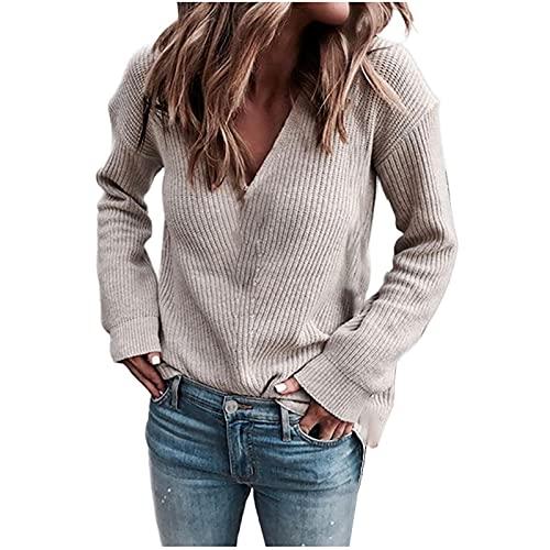 TianWlio Pullover Damen Elegant Sexy V-Ausschnitt Strickpullover Streifen Einfarbig Sweater Tops Casual Lose Pulli Langarm Jumper Oberteile Herbst und Winter