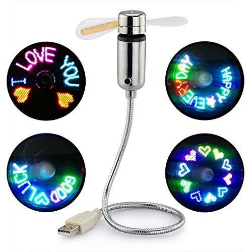 USB Fan with LED Display, SAYTAY Small Personal Portable Programmable LED Fan, Funny USB Toy Gadgets Gifts for Men Women Office Home