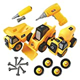 Toyvelt Construction Take Apart Trucks Stem Learning Take Apart Toys With Electric Drill - Dump...