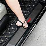 SENYAZON Car Decal Sticker Carbon Fibre Vinyl Reflective Car Door Sill Decoration Scuff Plate for Honda Civic (Black)