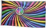 Fahne / Flagge Regenbogen Peace Swirl + gratis Sticker, Flaggenfritze®