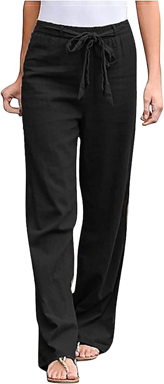 JPVDPA Women Cotton Linen Pants Drawstring Elastic Waist Beach Trousers Solid Color Straight Casual Long Pants