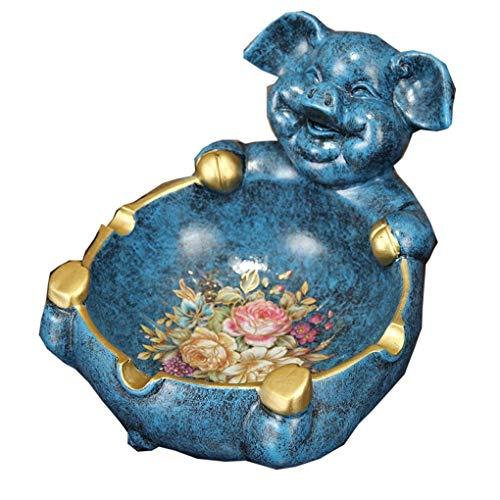 XUSHEN-HU Cenicero retro nórdico cenicero de cerdo para sala de estar, mesa de café, adornos creativos de personalidad, a prueba de viento, decoración (color: azul, tamaño: F) decoración