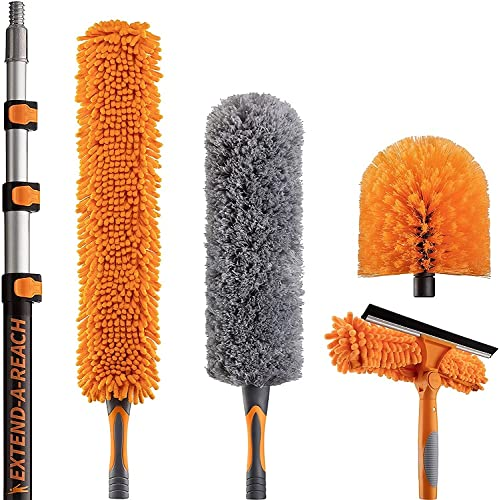 30 Foot High Reach Duster Kit with 7-24 ft Extension Pole // High Ceiling Dusting and Window Cleaning Kit with Telescopic Pole // Window Washer & Squeegee, Cobweb Duster, Fan Blade and Feather Dusters