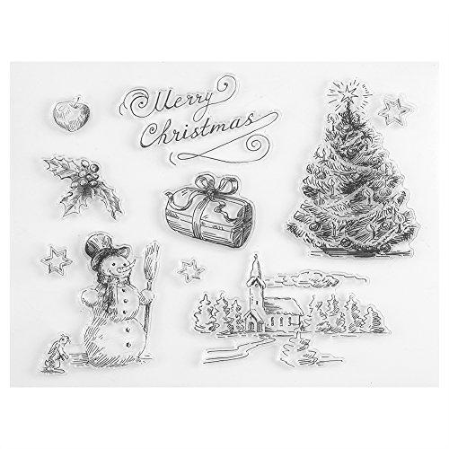 FTVOGUE Árbol de Navidad del Muñeco de Nieve de Navidad Claro Sello Scrapbook Álbum Decoración para el Hogar Tarjeta de Regalo Niño Adulto DIY