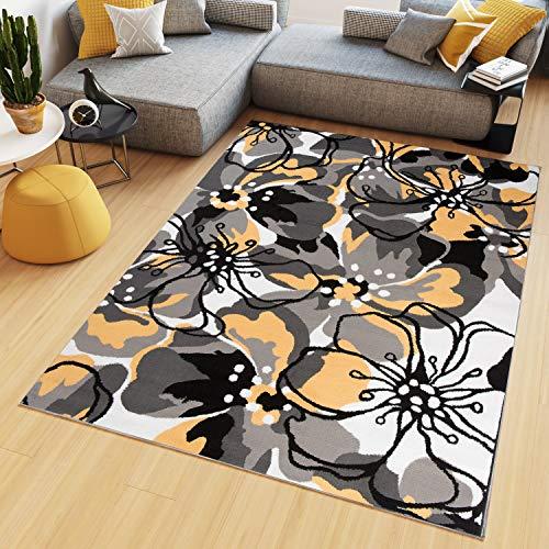 Tapiso Maya Z907A - Alfombra de salón, de Pelo Corto, diseño de Flores, para Dormitorio de los niños, Certificado Ökotex, 120 x 170 cm, diseño de Flores Amarillas