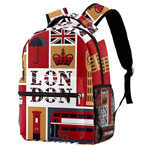 LORVIES London Big Ben Briefkasten, Regenschirm und Flagge, lässiger Rucksack, Schulterrucksack, Büchertasche für Schule, Studenten, Reisetaschen