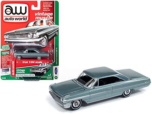 Auto World 1964 Ford Galaxie 500 XL Silber rauchgrau metallic Vintage Muscle Limited Edition auf 5.240 Teile weltweit 1/64 Druckguss Modellauto 64222-CP7603