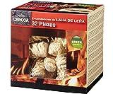 Carcoa fuego 0326 pastillas de lana de leña fsc 100%, 1 paquete de 32 piezas, rojo, 14x14. 3x12. 5 cm