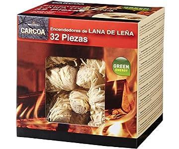 Carcoa Fuego 0326 Pastillas de lana de Leña FSC 100%, 1 paquete de 32 piezas, Rojo, 14x14.3x12.5 cm