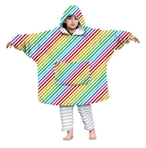 Kids4ever Kinder Übergroße Sherpa Hoodie Decke Soft Herbst Winter 3D Druck Bunte Linien Sherpa Hoodie Pulli Kapuze Geschenk für Weihnachten Erntedank Geburtstag für 4-14 Jahre Jungen