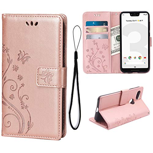 Teebo Wallet Case for Google Pixel 3, 3 Card Holder Embossed Butterfly Flower PU Leather Magnetic Flip Cover For Google Pixel 3(Rose Gold)