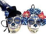 MasqStudio Full Face Dia de Los Muertos Blue Masquerade Flower Mask Day of The Dead Wear or Deco (Pair for 2 Masks)
