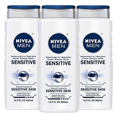 NIVEA Men Sensitive 3-in-1 Body Wash - Shower, Shampoo and Refresh, Soap and Dye-Free For Sensitive Skin - 16.9 fl. oz. (Pack of 3)
