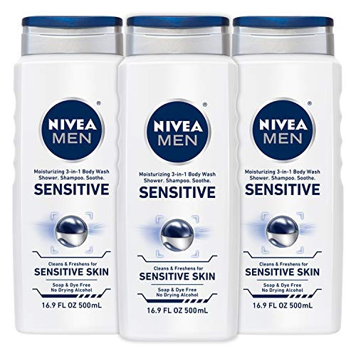 NIVEA Men Sensitive 3-in-1 Body Wash 16.9 Fluid Ounce (Pack of 3)
