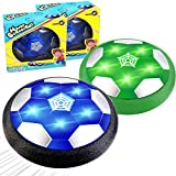 TURNMEON 2 Pack Kids Hover Soccer Ball Toys Rechargeable,Air Power Soccer Toy with 2 Goals Led Foam Bumper Indoor Outdoor Games Sports Soccer Ball School Supply Gifts Boys Girls Teens Students