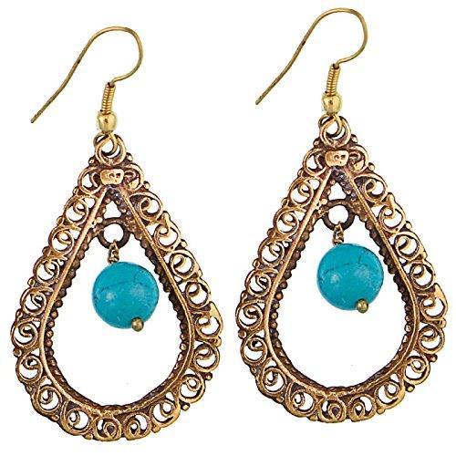 CHICNET oorbellen turquoise kogel druppel slierten messing antiek goud nikkelvrij oorbellen tribal brass
