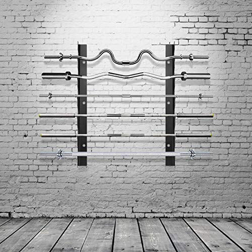 Ollieroo Olympische Langhantelablage Bar Aufbewahrung, Hantelstange Halter, Langhantelaufbewahrung, horizontale Langhantel-Wandhalterung, Stangen-Aufbewahrung, hält 6 Langhanteln (schwarz)