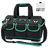 AIRAJ Waterproof Tools Bag,47×27×31cm,Wide Open Mouth Tools Tote Bag with Multiple Pockets Adjustable Shoulder Strap, Plastic Bottom Electrician Bag