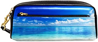 EGGDIOQ Leather Pencil Pen Bag Case Large Capacitywith Blue Sky Water Beach Ideal for School/College/Uni.- Make up Bag