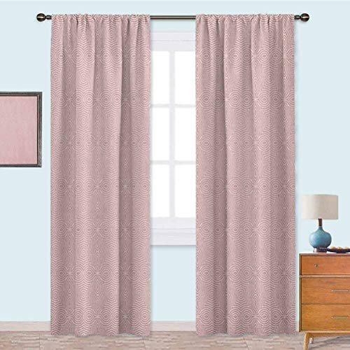 YUAZHOQI Blackout Curtains for Bedroom Vibrant Old Style Tied Celtic Lines in Clover Shape Simple Soft Colored Illustration Thermal Insulated Drapes for Kitchen 95 Inches Long Pink White