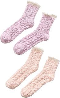 2/4/5 Pares Calcetines de Tobillos de Felpa Térmico Suave Medias de Piso para Mujer