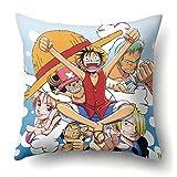 Cotrdocigh Anime One Piece Funda de Almohada Funda de Almohada de impresión de Personajes de Dibujos Animados de poliéster de Doble Cara Fundas de Almohada para cojín de sofá de Oficina en casa(H01)
