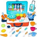 YZHM Kitchen Pretend Play Toys para niños, Juguetes de Juego de Roles de Cocina Conjunto con Verduras, Frutas y Otros Utensilios Accesorios, Maleta de Viaje portátil Regalo para niños y niñas 3 años