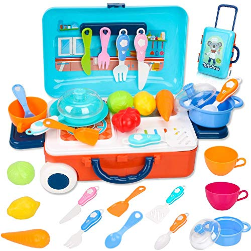 Kitchen Pretend Play Toys for Kids, Cooking Role Play Toys Set with Vegetables, Fruits and Other Utensils Accessories, Portable Travel Suitcase Gift for Boys & Girls 3 Years Old
