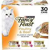 Purina Fancy Feast Grain Free Wet Cat Food Variety Pack Pate, Poultry & Beef Collection - (30) 3 oz. Cans