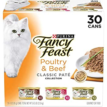 Purina Fancy Feast Grain Free Pate Wet Cat Food Variety Pack Poultry & Beef Collection -  30  3 oz Cans