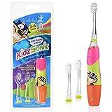 Brush-Baby KidzSonic Elektr. Zahnbürste | Kinder | 3+ Jahre | Blinkende Discolichter, sanfte Vibrationen & 2-Min.-Timer machen das Putzen zum Vergnügen | Rosa, inkl. 3 Ersatzköpfe & 1 AAA-Batterie